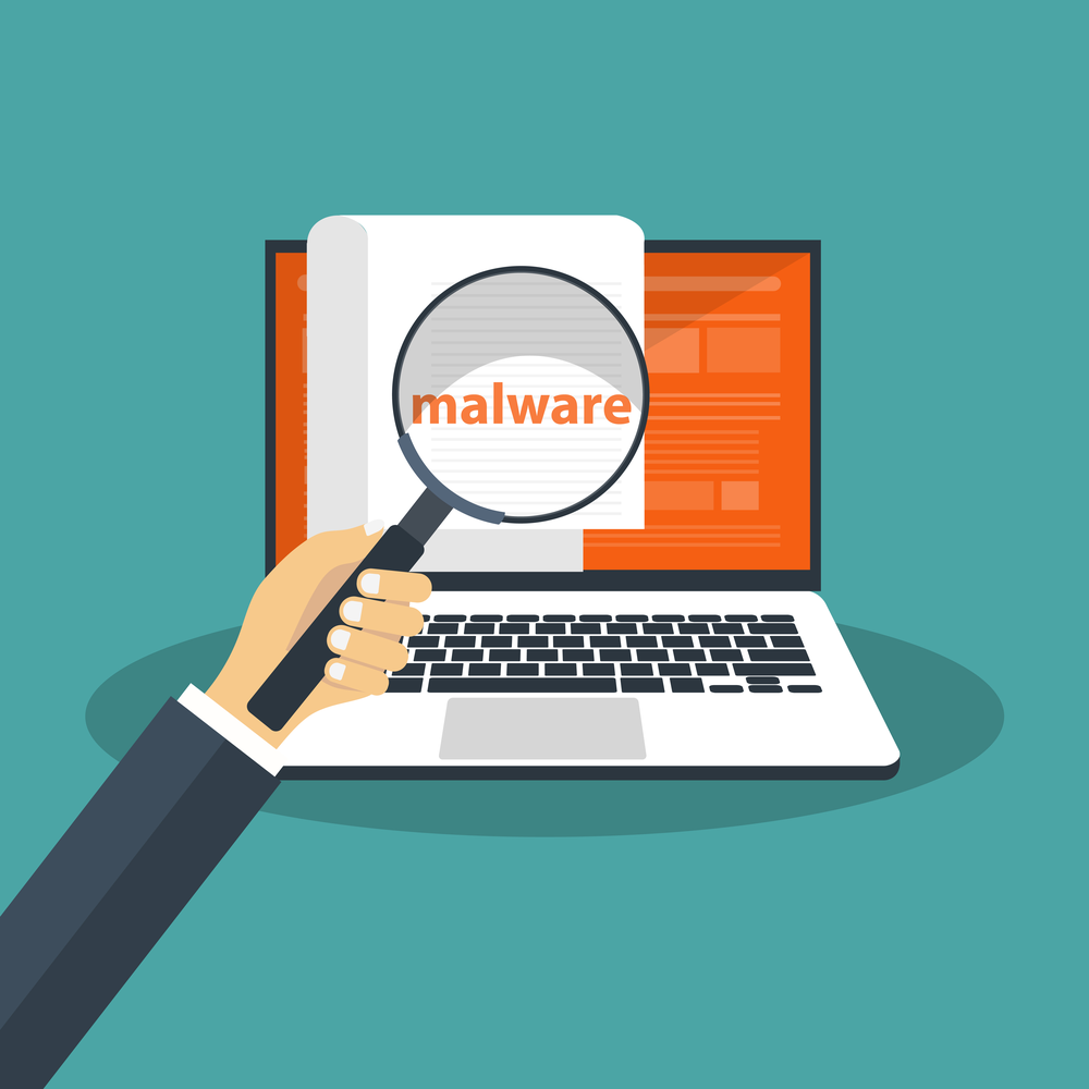 Document with malware in laptop. Concept of virus, piracy, hacking and security.